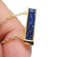 "Blue Druzy Quartz Gemstones New 925 Sterling Silver Jewelry Pendant Necklace 17"""