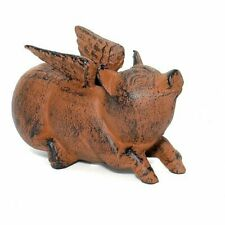 Cast Iron Flying Pig Garden Statue Patio Yard Coin Bank Paperweight