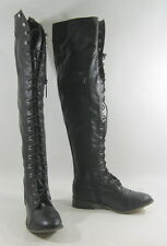 """new ladies Black Lace Up  Round Toe 1"""" Thick Heel Over Knee Sexy Boots Size 7"""