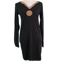 SACRED THREADS FUNKY HIPPIE NATIVE AMERICAN DESIGN BLACK DRESS WOMENS SIZE S