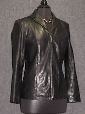ALFANI Black Soft Lamb Leather Zip Front Jacket SZ S