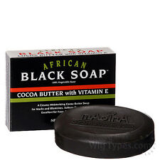 African Black Soap Herbal Natural Cocoa Butter Vit- E Veg/Base Madina 150g, Bar