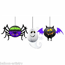 3 Halloween Spider Ghost Bat Hanging 3D Decorations
