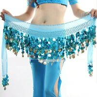 3 Rows Belly Dance Costume Hip Scarf Tribal Hip Belt Skirt Silver Gold Coins 1x