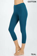Womens Capri Leggings Cotton 3/4 Cropped High Waist Regular & Plus Workout Yoga
