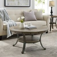 Powell Franklin Metal and Wood Round Coffee Table in Pewter Gray