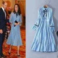 Womens Middleton Dress Lace Patchwork Long Sleeve Elegant Hanukkah Long dresses