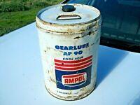 A Vintage Imperial 1960/70's AMPOL White 5 Gallon Gearlube AP90 Oil Tin Drum