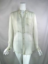 CHAN LUU Ivory Sheer Long Sleeve Button Front Blouse Size S/M