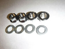 4 New Front & Rear 14mm BMX Bicycle Axle Nuts & Washers - 4 Nuts - 4 Washers