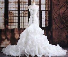 2018 Beaded white/ivory Mermaid wedding dress Bridal Gown custom size 4-26+