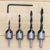4pcs HSS 5 Flute Countersink Drill Bit Set Screw Wood working 3-6mm Tool Chamfer