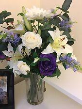 BEAUTIFUL ROSE LILY & EUCALYPTUS MIX ARTIFICIAL FLOWER VASE ARRANGEMENT IN WATER