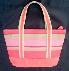 Coral Pink Striped Canvas Suede Tote Hand Bag Purse Shopper Zipper Close Lined