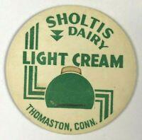 Sholtis Dairy Thomaston Connecticut CT Vintage Milk Bottle Cap Green Light Cream