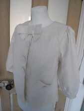River Island Ivory cream Linen Cotton 3/4 puff sleeve spring Jacket with bow UK8