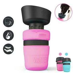 Patented lesotc Dog Water Dispenser Hike Feeder with Bowl 18.3oz Silicone Bottle