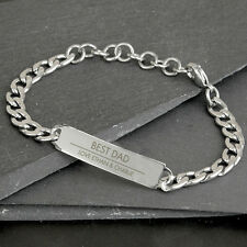 Personalised Engraved Mens Stainless Steel Chain Bracelet - Fathers Day Birthday