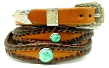 Brown HATBAND Scalloped Braided Leather with TURQUOISE CONCHOS + Buckle Hat Band