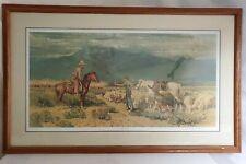 Robert Lougheed Open Range Encounter Cowboy Lithograph Oak Framed Glass 361/1000