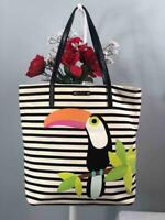 KATE SPADE NY Parrot Strips Canvas w. Leather Trims Bon Shopper Tote Bag