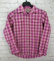 Wrangler Wrancher Women's Pink Check Pearl Snap Western Shirt Blouse Size Small
