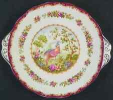 Royal Albert CHELSEA BIRD MAROON Handled Cake Plate 616202