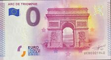 BILLET 0  EURO ARC DE TRIOMPHE PARIS FRANCE 2015 NUMERO 1940