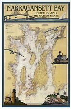 Narragansett Bay Rhode Island Nautical Chart Lighthouse etc, Modern Map Postcard