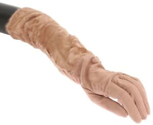 NEW $2300 DOLCE & GABBANA Gloves Beige Suede Xiangao Fur Elbow Long s. 7.5 / M