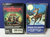 Lot of 2 80's Christmas Cassette Tapes Singing w/ Rudolph & A Chipmunk Christmas