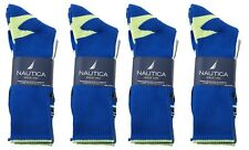 12 Pairs Nautica Mens Crew Sports Socks 10-13 Shoe Size 6-12 Blue Gray White