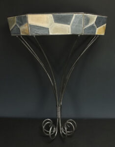 """Wall Hanging Shelf Sconce Grey Metal and Colored Tiles 16"""" Tall x 12"""" Wide"""
