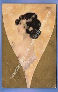SUPER 1910c PRETTY GIRL WITH HER RING ART DECO SIGNED RAPHAEL KIRCHNER POSTCARD