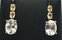 Sterling Silver 925 Oval CZ / Double Yellow Citrine Drop Dangle Post Earrings