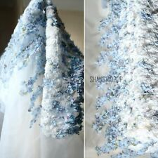 3D Floral Flower Mesh Organza Fabric Wedding Sheer Lace Tulle Dress DIY 45 150cm
