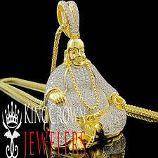 10K Yellow Gold Silver Lab Diamond Buddha Pendant Round Pave Meditation Charm