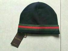 HOT!! GUCCI Black Unisex Knit Beanie Hat Silk/Wool Blend 100% Authentic