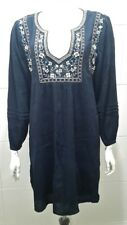 Abercrombie & Fitch Embroidered Peasant Dress Navy - L