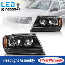 For 99-04 Jeep Grand Cherokee Black Amber Corner Replacement Headlights Lamps