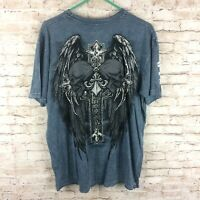 Affliction Mens XL Blue Black Wings Cross Skull Distressed Graphic T-Shirt