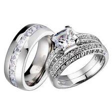 Diamond Wedding Set Titanium Band ce 14k White Gold Sterling Silver Princess Cut
