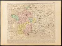 1859. Francia Dopo Charles IV Detto Il Bel. Carta Geografica Antica Houze