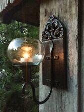 Windlicht im Kolonialstil - handgefertigt Wand-Kerzenhalter geschnitzt Glaskugel