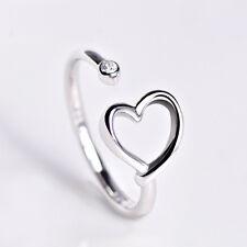 Damen Ring Herz echt Sterling Silber 925 Zirkonia größenverstellbar 48-52 offen