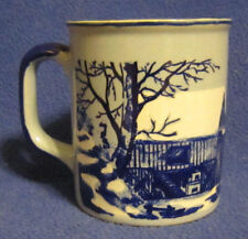 10 oz. Blue and White Coffee Mug with Barns and Snow made in Japan