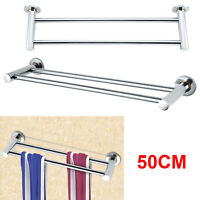 50cm Towel Rail Rack Storage Holder Chrome Silver Wall Mounted Bathroom Shelf UK