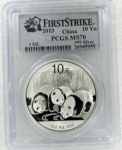 GEM SUPERB 2013 10 YN YUAN PANDA 1 OZ SILVER COIN CHINA PCGS MS70 FIRST STRIKE