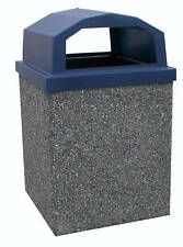 Commercial Trash Can (40 Gallon-Granite Gray Concrete Shell-Lid and Liner)