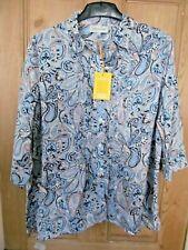 JONES NEW YORK-Blue Multi Paisley Print  Linen Tunic Top -XL-NEW *Cat Charity*